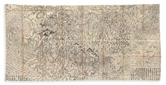 1710 First Japanese Buddhist Map Of The World Showing Europe America And Africa Beach Towel
