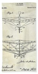 1909 Flying Machine Patent Drawing  Beach Towel