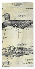 1910 Duck Decoy Patent Drawing Beach Towel