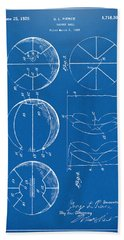 1929 Basketball Patent Artwork - Blueprint Beach Towel by Nikki Marie Smith
