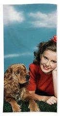 1940s 1950s Smiling Teen Girl Beach Towel