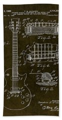 1955 Gibson Les Paul Patent Drawing Beach Towel by Gary Bodnar