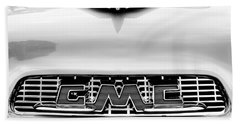 1956 Gmc 100 Deluxe Edition Pickup Truck Hood Ornament - Grille Emblem Beach Towel