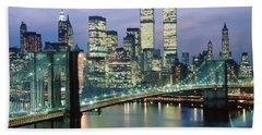 1980s New York City Ny Downtown Skyline Beach Towel