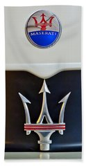 2005 Maserati Mc12 Hood Emblem Beach Sheet by Jill Reger