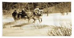 A Sleigh Is Pulled By Two Black Horses Beach Towel