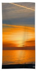 Beach Sheet featuring the photograph A Walk At Sunset by Mariarosa Rockefeller