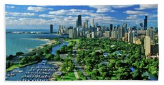 Aerial View Of Chicago, Illinois Beach Towel