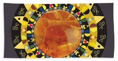 Beach Towel featuring the digital art Amber Mandala by Kim Prowse