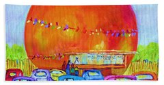 Beach Sheet featuring the painting Antique Cars At The Julep by Carole Spandau