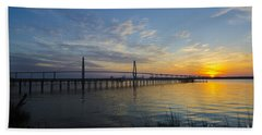 Beach Towel featuring the photograph Sunset Over The Charleston Waters by Dale Powell