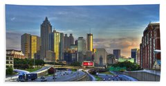 Atlanta Sunset Reflections Beach Towel by Reid Callaway