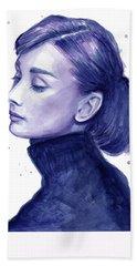 Audrey Hepburn Portrait Beach Towel by Olga Shvartsur