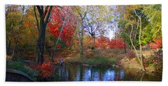 Autumn By The Creek Beach Sheet by Dora Sofia Caputo Photographic Art and Design