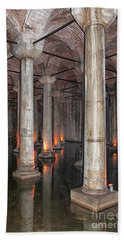 Basilica Cistern 02 Beach Sheet by Antony McAulay