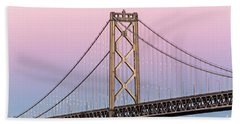 Bay Bridge Lights At Sunset Beach Towel by Kate Brown