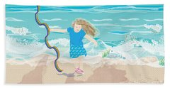 Beach Towel featuring the digital art Beach Rainbow Girl by Kim Prowse