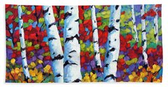 Birches In Abstract By Prankearts Beach Towel