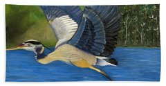 Beach Towel featuring the painting Blue Heron In Flight by Brenda Brown