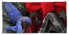 Bluebird Christmas Wreath Beach Sheet
