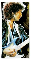 Bob Dylan Artwork 2 Beach Sheet by Sheraz A
