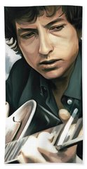 Bob Dylan Artwork Beach Sheet by Sheraz A