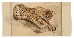 Beach Sheet featuring the pyrography Bobcat And Friend by Ron Haist