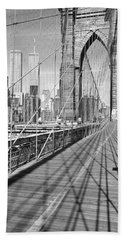 Brooklyn Bridge Manhattan New York City Beach Towel by Panoramic Images