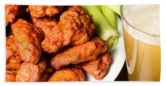 Buffalo Wings With Celery Sticks And Beer Beach Sheet