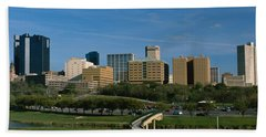 Buildings In A City, Fort Worth, Texas Beach Towel