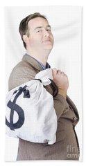 Business Man Getting Interest Free Loan Beach Towel