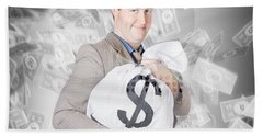 Business Person With Money Sack. Financial Success Beach Towel