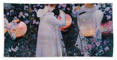 Carnation Lily Lily Rose Beach Towel by John Singer Sargent