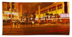 Casino Lit Up At Night, Fremont Street Beach Towel
