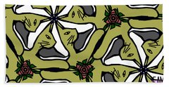 Beach Towel featuring the digital art Cat / Shoe / Rose by Elizabeth McTaggart
