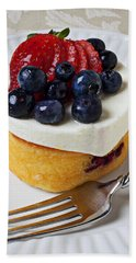 Cheese Cream Cake With Fruit Beach Towel