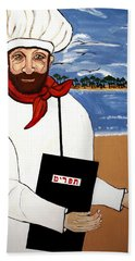 Beach Towel featuring the painting Chef From Israel by Nora Shepley