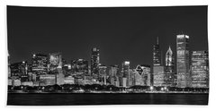 Chicago Skyline At Night Black And White Panoramic Beach Towel by Adam Romanowicz