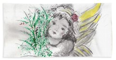 Beach Towel featuring the mixed media Christmas Angel by Laurie L