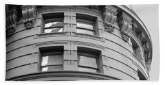 Beach Towel featuring the photograph Circular Building Details San Francisco Bw by Connie Fox