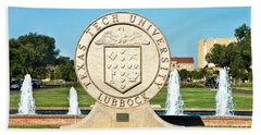 Beach Towel featuring the photograph Classical Image Of The Texas Tech University Seal  by Mae Wertz