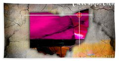 Cleveland Ohio Map Watercolor Beach Towel