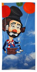 Beach Towel featuring the painting Clown Up Up And Away by Nora Shepley