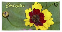 Coreopsis Flower And Buds Beach Sheet by A Gurmankin