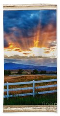 Country Beams Of Light Barn Picture Window Portrait View  Beach Towel