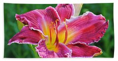 Crimson Day Lily Beach Towel