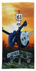 Crossroads Sunset  Blues Highway 61 Beach Sheet
