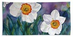 Beach Towel featuring the painting Daffodil Dream by Anna Ruzsan
