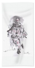 Beach Towel featuring the mixed media Dancing Clown by Laurie L