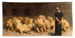 Daniel In The Lions' Den Beach Sheet by Briton Riviere